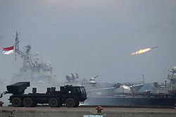 October 3, 2017 - Banten, Indonesia - Indonesian military, conduct the last preparation for commemorating the 72nd National Military Day at the Indah Kiat harbour, Banten Province. In the commemoration of National Military Day this year, which will take place on October 5, Indonesia will feature a number of the latest weaponry equipment, such as AH-64E Apache helicopters, Changbogo class submarine, and Kaplan medium tank prototype from cooperation of Indonesian defense industry, PT. Pindad with Turkish defense industry FNSS. (Credit Image: © Aditya Irawan/NurPhoto via ZUMA Press)