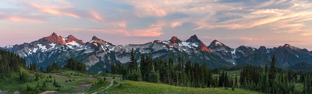Panorama of the Tatoosh range from Mazama Ridge in Mount Rainier National Park, Washington State, USA. Peaks of the Tattoosh Range here include The Castle, Pinnacle, Plummer, Denman, Lane, Wahpenayo, Chutla and Eagle Peaks (from left to right).