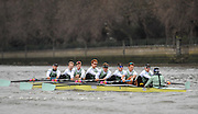 2017 Boat Race Trials<br /> <br /> Mens Trials VIIIs for 163rd University Boat Race, sponsored by BNY MELLON,held on the Championship Course from Putney to Mortlake, Monday 12 December 2016.<br /> <br /> CUBC Trial VIII's between TWO G's on Surrey in all blue tops and ONE T on Middlesex in blue tops with white sleeves.<br /> <br /> TWO G's, Bow, Felix Newman, 2, Patrick Elwood, 3, Simon Buechele, 4, Peter Rees, 5, Charlie Fisher, 6, Tim Tracy, 7, Ben Ruble, Stroke, Freddie Davidson. Cox, Ian Middleton.<br /> <br /> ONE T, Bow, Louis Margot, 2, Sam Wilson, 3, Sam Ringer, 4, Jim Letten, 5, Robin Ponte, 6, Sash Maolwany, 7, Piers Kasas, Stroke, Henry Meek, Cox, Hugo Ramambason.