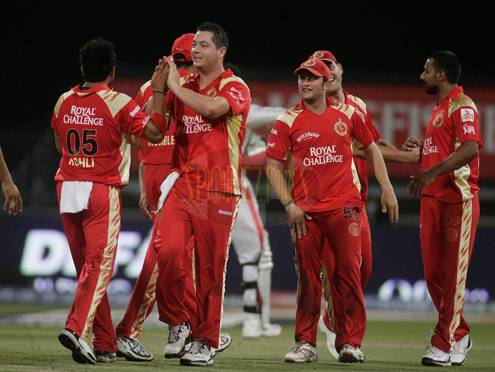 DURBAN, SOUTH AFRICA - 1 May 2009. Bangalore celebrates during the IPL Season 2 match between Kings X1 Punjab and the Royal Challengers Bangalore held at Sahara Stadium Kingsmead, Durban, South Africa....