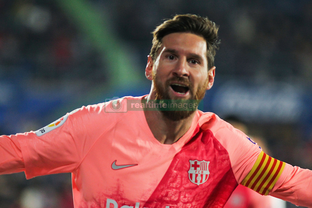 January 6, 2019 - Getafe, Spain - Barcelona forward LIONEL MESSI celebrating a goal during Spanish La Liga action against Getafe at Coliseum Alfonso Perez. (Credit Image: © AFP7 via ZUMA Wire)