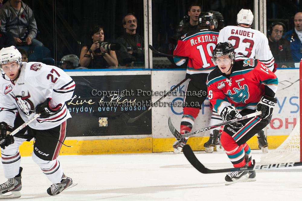 KELOWNA, CANADA - NOVEMBER 9:  Colton Sissons #15 of the Kelowna Rockets skates on the ice against the Red Deer Rebels at the Kelowna Rockets on November 9, 2012 at Prospera Place in Kelowna, British Columbia, Canada (Photo by Marissa Baecker/Shoot the Breeze) *** Local Caption ***