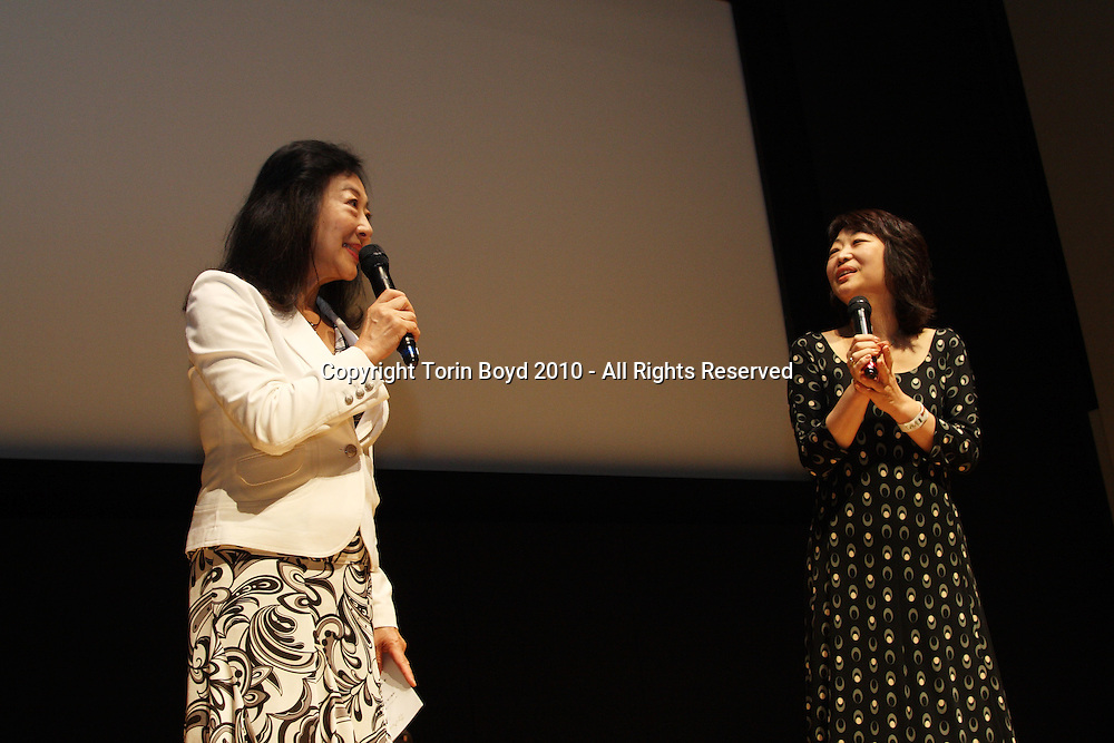 Kumi Togawa (right) and Mieko Kinjo (left) during the JTEF event at the Indian Embassy in Tokyo<br /> <br /> This was an Japan Tiger and Elephant Fund (JTEF) held at the Indian embassy in Tokyo on September 25, 2010. This was to bring awareness to their causes; the Tiger Conservation Fund, Elephant Conservation Fund, Iriomote Cat Conservation Fund, and stopping the ivory trade. Those who spoke or performed at this event were: Vibek Menon, Chief Executive Officer of Wildlife Trust of India, Kumi Togawa, a well-known animal novelist, Mieko Kinjo, and sitar player Chandrakant Saradeshmukh, and the theatrical group Theatre de MUIBO.
