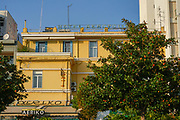 Facade of hotel Akropolis (sic) in the old town of Kavala, Macedonia, Greece