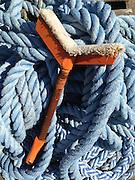 Boat Hoist and Blue Rope, Castine, Maine, US