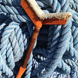 Boat Hoist and Blue Rope, Castine, Maine, US