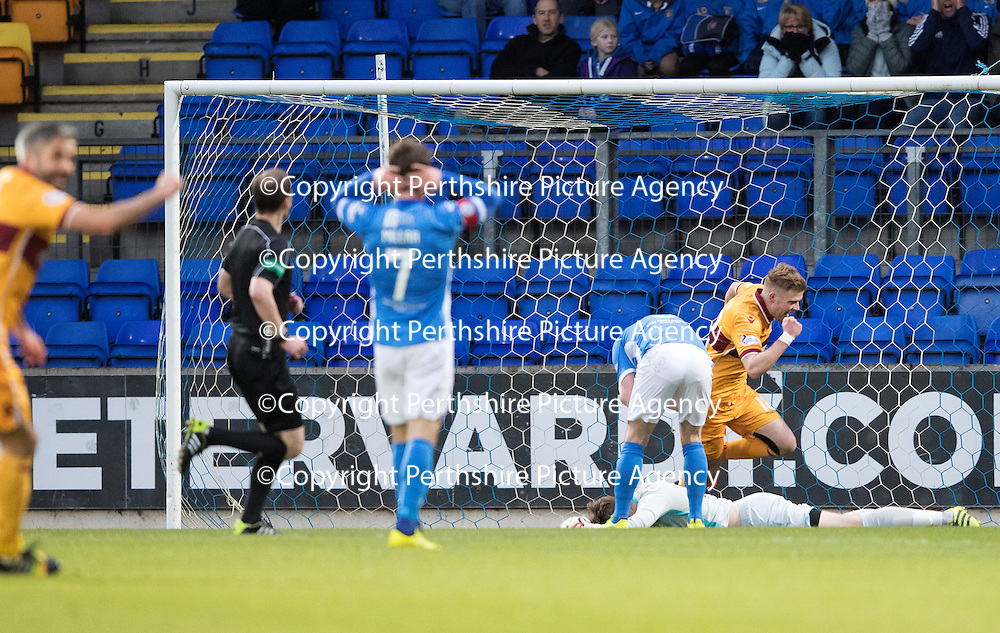 St Johnstone v Motherwell&Ouml;17.12.16     McDiarmid Park    SPFL<br /> Zander Clark lies on the pitch after his howler gifted Richard Tait the opening goal<br /> Picture by Graeme Hart.<br /> Copyright Perthshire Picture Agency<br /> Tel: 01738 623350  Mobile: 07990 594431