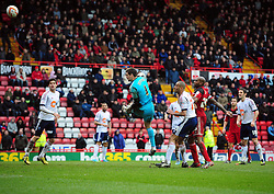 Bristol City Goalkeeper, Tom Heaton goes agonisingly close in the dieting seconds with a header from a corner  - Photo mandatory by-line: Joe Meredith/JMP - Tel: Mobile: 07966 386802 13/04/2013 - SPORT - FOOTBALL - Ashton Gate - Bristol - Bristol City V Bolton Wanderers - Npower Championship