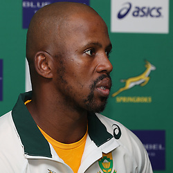 DURBAN, SOUTH AFRICA, 4 October, 2016 - Rugby Championship, Mzwandile Stick (Assistant Coach backline) of South Africa during the South African (Springbok) Media conference at Kashmir Restaurantin Durban, South Africa. (Photo by Steve Haag)