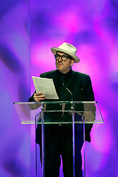 20 November 2015. Orpheum Theater, New Orleans, Louisiana. <br /> Memorial service for musician Allen Toussaint. <br /> Elvis Costello performs on stage.<br /> Photo; Charlie Varley/varleypix.com