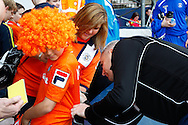 Steve McNulty of Luton Town signs a young fan's shirt before the Skrill Conference Premier match at Kenilworth Road, Luton<br /> Picture by David Horn/Focus Images Ltd +44 7545 970036<br /> 21/04/2014