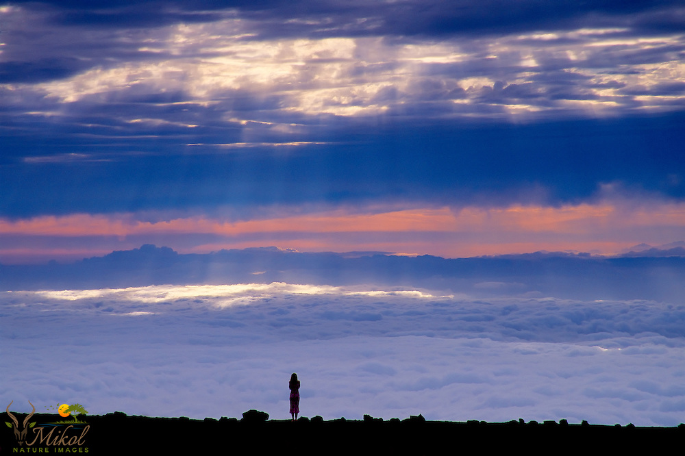 Silhouette of a woman looking out over the clouds below her from atop a Haleakala. Black foreground with blue, orange and white in the clouds