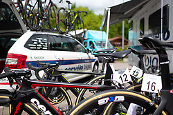 Cervélo-Bigla bikes are ready for Stage 1 of the Festival Elsy Jacobs - a 97.7 km road race, starting and finishing in Steinfort on April 28, 2018, in Luxembourg. (Photo by Balint Hamvas/Velofocus.com)