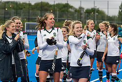 Surbiton celebrate. Holcombe v Surbiton - Investec Women's Hockey League Final, Lee Valley Hockey & Tennis Centre, London, UK on 29 April 2018. Photo: Simon Parker