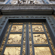 East entry doors of the Baptistry by Lorenzo Ghiberti, the Gate of Paradise, Firenze, Italy<br />