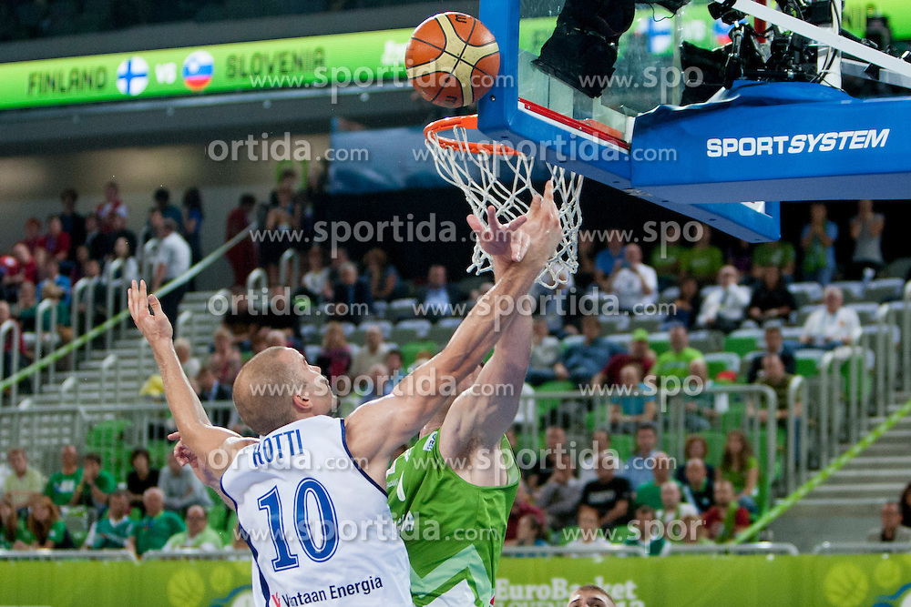 Tuukka Kotti #10 of Finland during basketball match between National teams of Finland and Slovenia in 2nd Round at Day 13 of Eurobasket 2013 on September 14, 2013 in SRC Stozice, Ljubljana, Slovenia. (Photo By Urban Urbanc / Sportida)