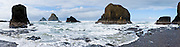 Sea stack rocks in the Pacific Ocean, on the north side of the hiker's tunnel at Oceanside beach, Oregon, USA. Panorama stitched from 5 overlapping images.
