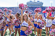 MEMPHIS, TN - OCTOBER 17:  Pom Squad of the Memphis Tigers celebrate with the fans after a game against the Ole Miss Rebels at Liberty Bowl Memorial Stadium on October 17, 2015 in Memphis, Tennessee.  The Tigers defeated the Rebels 37-24.  (Photo by Wesley Hitt/Getty Images) *** Local Caption ***