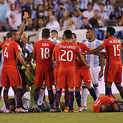 EAST RUTHERFORD, NEW JERSEY - JUNE 26: Marcos Rojo #16 of Argentina is sent off during the Argentina Vs Chile Final match of the Copa America Centenario USA 2016 Tournament at MetLife Stadium on June 26, 2016 in East Rutherford, New Jersey. (Photo by Tim Clayton/Corbis via Getty Images)