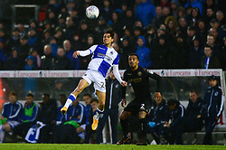 Kyle Bennett of Bristol Rovers challenges for the header with Nathan Byrne of Wigan Athletic - Mandatory by-line: Dougie Allward/JMP - 24/04/2018 - FOOTBALL - Memorial Stadium - Bristol, England - Bristol Rovers v Wigan Athletic - Sky Bet League One