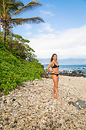 Olympic skier Julia Mancuso on the beach near her home on the island of Maui, Hawaii