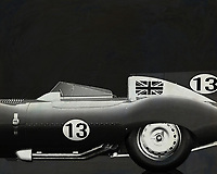Like its predecessor Jaguar C-Type, the Jaguar D-Type is a factory-built racing car. The Jaguar D-Type had a straight-XK engine design. At the beginning it was a 3.4 engine, later also a 3.8, together with the C-Type a revolutionary car in terms of aerodynamics and monocoque chassis. The D-Type was produced purely for motorsport, but after Jaguar stopped building the car for motorsport, the company offered the unfinished chassis as the public-road version of the JaguarXKSS. These cars were given a number of modifications such as a passenger seat, a second door, a full windscreen and a roof. But on 12 February 1957 a fire broke out on Browns Lane plant. The fire destroyed nine of 25 cars that were already finished or almost finished. –<br /> <br /> <br /> BUY THIS PRINT AT<br /> <br /> FINE ART AMERICA<br /> ENGLISH<br /> https://janke.pixels.com/featured/jaguar-type-d-1956-jan-keteleer.html<br /> <br /> <br /> WADM / OH MY PRINTS<br /> DUTCH / FRENCH / GERMAN<br /> https://www.werkaandemuur.nl/nl/shopwerk/Jaguar-Type-D-1956-B-amp-W/545131/134
