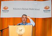 "University of Houston professor Dr. Arturo Hernandez comments during a Televisa Foundation ""Live the Dream"" event at Burbank Middle School, December 9, 2013."