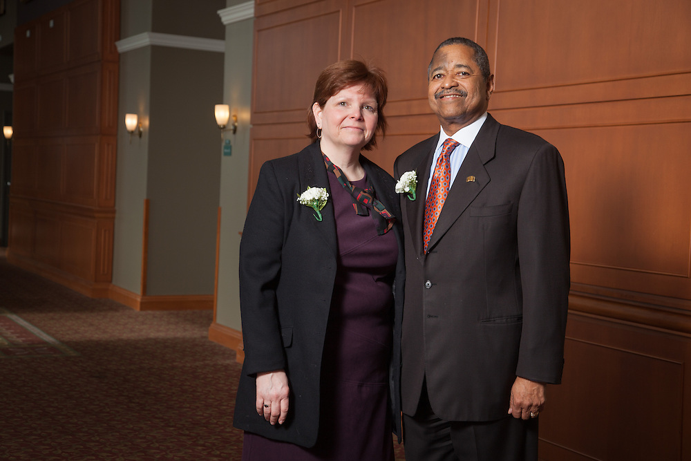 Joan Butcher , director of program services for WOUB is the the recipient of the 2013 Outstanding Administrator Award at the Ohio University's Outstanding Administrator Awards ceremony on March 10, 2014. Joan Butcher is photographed with Ohio University President  Roderick McDavis. Photo by Ohio University / Jonathan Adams