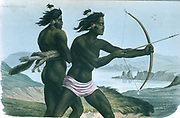 North American San Francisco Indians hunting with bows and arrows, c1840.