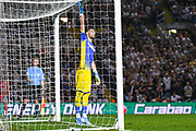 Leeds United goalkeeper Francisco Casilla (13) during the penalty shoot out during the EFL Cup match between Leeds United and Stoke City at Elland Road, Leeds, England on 27 August 2019.