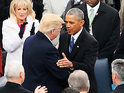 President-elect Donald Trump and President Barack Obama meet at the inauguration ceremonies swearing in Donald Trump as the 45th president of the United States on the West front of the U.S. Capitol in Washington, U.S., January 20, 2017. REUTERS/Rick Wilking - RTSWI3Z