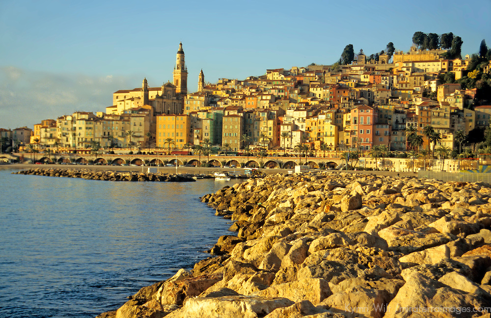Europe, France, Menton. French Riviera town close to Italian border.