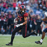 03 September 2016: The San Diego State Aztecs football team open's up the season at home against the University of New Hampshire Wildcats. Wide receiver Mikah Holder (6) breaks free for an 86 yard touchdown reception in the first quarter. www.sdsuaztecphotos.com