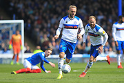 Ryan McLaughlin brings the ball forward during the EFL Sky Bet League 1 match between Portsmouth and Rochdale at Fratton Park, Portsmouth, England on 13 April 2019.