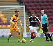 Motherwell's Scott McDonald and Dundee's Paul McGowan - Motherwell v Dundee in the Ladbrokes Scottish Premiership at Fir Park, Motherwell.Photo: David Young<br /> <br />  - © David Young - www.davidyoungphoto.co.uk - email: davidyoungphoto@gmail.com