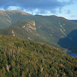 Franconia Notch State Park.  View from Bald Mountain of Mount Lafayette, Echo Lake, and I-93 through the notch. Franconia Ridge. Franconia , NH