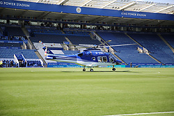 The helicopter belonging to Vichai Srivaddhanaprabha,  Leicester City owner,  has crashed in a car park outside the club's ground shortly after taking off following a match.  Images of the helicopter which always left from the King Power stadium pitch after each home game.