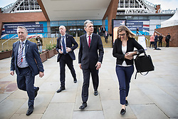 © Licensed to London News Pictures  . 03/10/2017 . Manchester , UK . PHILIP HAMMOND in front of the Manchester Central Convention Centre on day three of the Conservative Party Conference at the Manchester Central Convention Centre . Photo credit : Joel Goodman/LNP