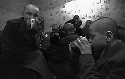 Russian juvenile prisoners drink a very strong tea (chefir) during their rest time at the colony for prisoner's children in Siberian town Leninsk-Kuznetsky, Russia, 04 December 1999. The prisoners use very strong tea as a substitute of the alcohol and drug.