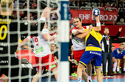 Kent Robin Tonnesen of Norway vs Max Darj of Sweden during handball match between National teams of Sweden and Norway on Day 7 in Main Round of Men's EHF EURO 2018, on January 24, 2018 in Arena Zagreb, Zagreb, Croatia.  Photo by Vid Ponikvar / Sportida