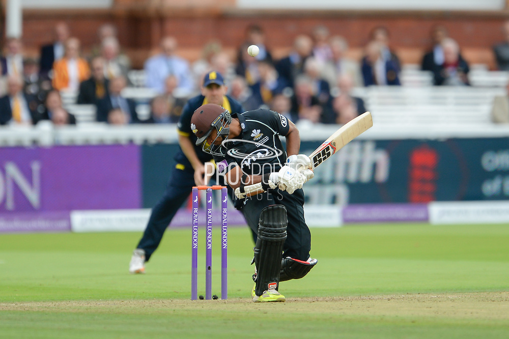 Kumar Sangakkara of Surrey avoiding a short pitched delivery during the Royal London One Day Cup match between Warwickshire County Cricket Club and Surrey County Cricket Club at Lord's Cricket Ground, St John's Wood, United Kingdom on 17 September 2016. Photo by David Vokes.