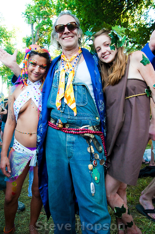 A festival goer at Eeyore's Birthday Party in Austin, Texas, April 24, 2010.  Eeyore's Birthday Party is an annual Rite of Spring party in Austin, named in honor of Eeyore, a character in A. A. Milne's Winnie-the-Pooh stories.  The festival has been held every year since 1963.