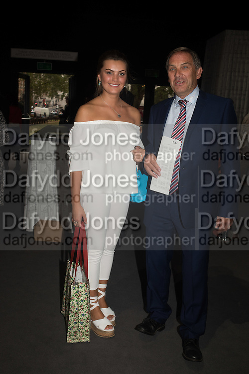 FLORENCE COLLINSON; WITH HER FATHER MICHAEL COLLINSON, The LAPADA Art & Antiques Fair - private view, Berkeley Sq. London. 12  September 2016