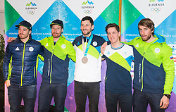 Slovenian Biathlon Team during Arrival of Jakov Fak, Silver medalist at Olympic Games in Pyeongchang 2018, on February 25, 2018 in Aerodrom Ljubljana, Letalisce Jozeta Pucnika, Kranj, Slovenia. Photo by Ziga Zupan / Sportida