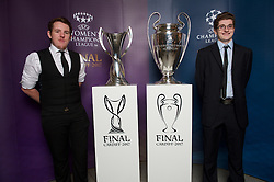 CARDIFF, WALES - Monday, December 5, 2016: Guests at the Wales Sport Awards 2016 pose with the UEFA Champions League Trophies before the ceremony at the Millennium Centre. Young Volunteer of the Year – Joseph Jones [R] and Blake Jones. (Pic by Ian Cook/Propaganda)