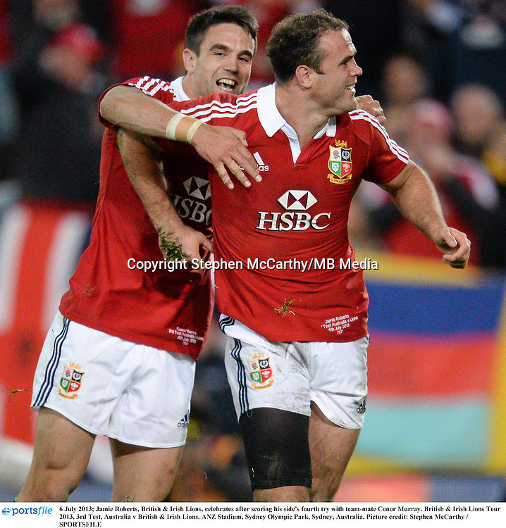 6 July 2013; Jamie Roberts, British & Irish Lions, celebrates after scoring his side's fourth try with team-mate Conor Murray. British & Irish Lions Tour 2013, 3rd Test, Australia v British & Irish Lions. ANZ Stadium, Sydney Olympic Park, Sydney, Australia. Picture credit: Stephen McCarthy / SPORTSFILE
