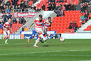 Andy Williams (11) of Doncaster Rovers scores goal  from the penalty spot to go 3-1 up  during the Sky Bet League 1 match between Doncaster Rovers and Wigan Athletic at the Keepmoat Stadium, Doncaster, England on 16 April 2016. Photo by Ian Lyall.