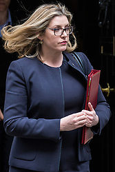 London, UK. 7 May, 2019. Penny Mordaunt MP, Secretary of State for Defence, leaves 10 Downing Street following a Cabinet meeting.