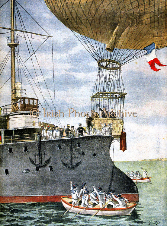 French balloonists flying between Toulon and Algeria stepping out of the basket (gondola)  in the open sea onto the deck of a French naval vessel.  From 'Le Petit Journal', 3 November 1901. Aviation Aeronautics