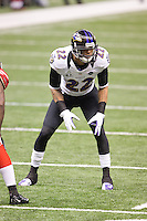 3 February 2013: Cornerback (22) Jimmy Smith of the Baltimore Ravens lines up against the San Francisco 49ers during the first half of the Ravens 34-31 victory over the 49ers in Superbowl XLVII at the Mercedes-Benz Superdome in New Orleans, LA.